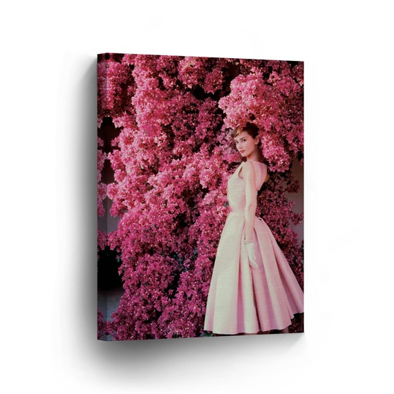 Audrey hepburn in pink flowers canvas print home decor iconic etsy image 0 mightylinksfo