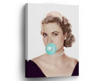 Grace Kelly Chewing Gum Canvas Print Home Decor/Iconic Wall Art/Gallery Wrapped Canvas Art Stretched/Ready to Hang Active