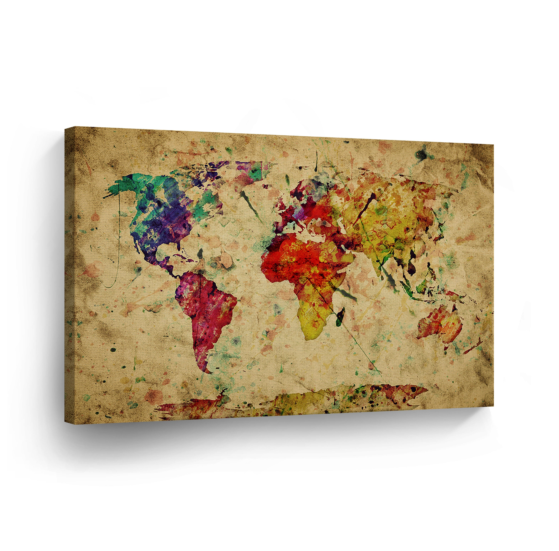 Decorative World Map Colorful Vintage Decorative Art Canvas Etsy