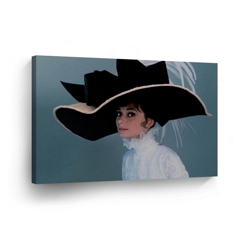8adbf7fb135e3 Audrey Hepburn Canvas Sexy Beautiful Look Print Big Hat Home