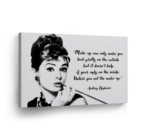 Audrey Hepburn Wall Movie Wrapped Bar to Hang Quote Icon Stretcher at Breakfast Decor Wood Ready Art Tiffany's Canvas Print Home Gallery Kc3u1TlFJ