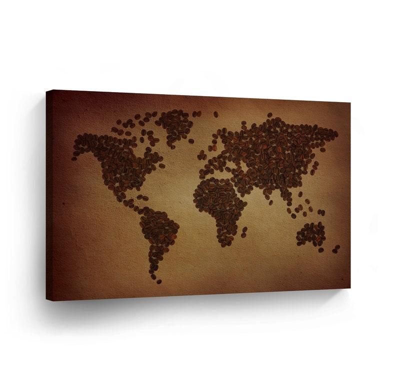 Decorative World Map Coffee Beans Decorative Art Canvas Print Etsy