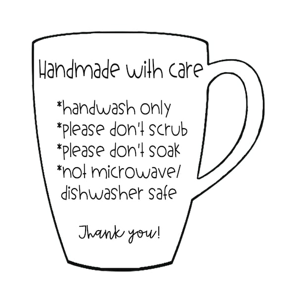 Care Instructions For Mugs And Cups Digital Files Etsy