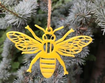 Yellow Geometric Bee   Acrylic   Perspex   Plastic   Laser Cut   Christmas   Tree Decoration   Ornament   Ornaments