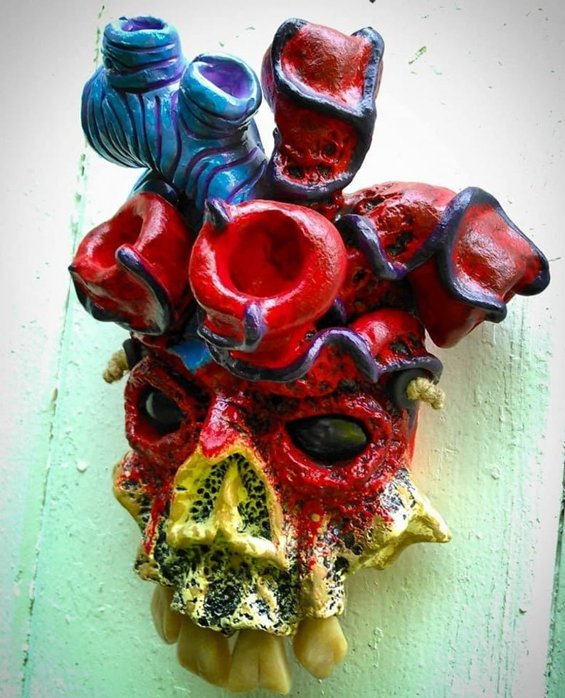 Skull with Heart Wall Mask by Wicked Wall Masks image 0