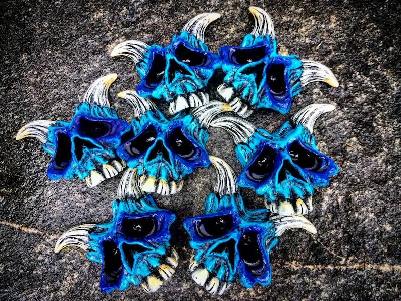 Lil Blue Devil magnet by Wicked Wall Masks image 0