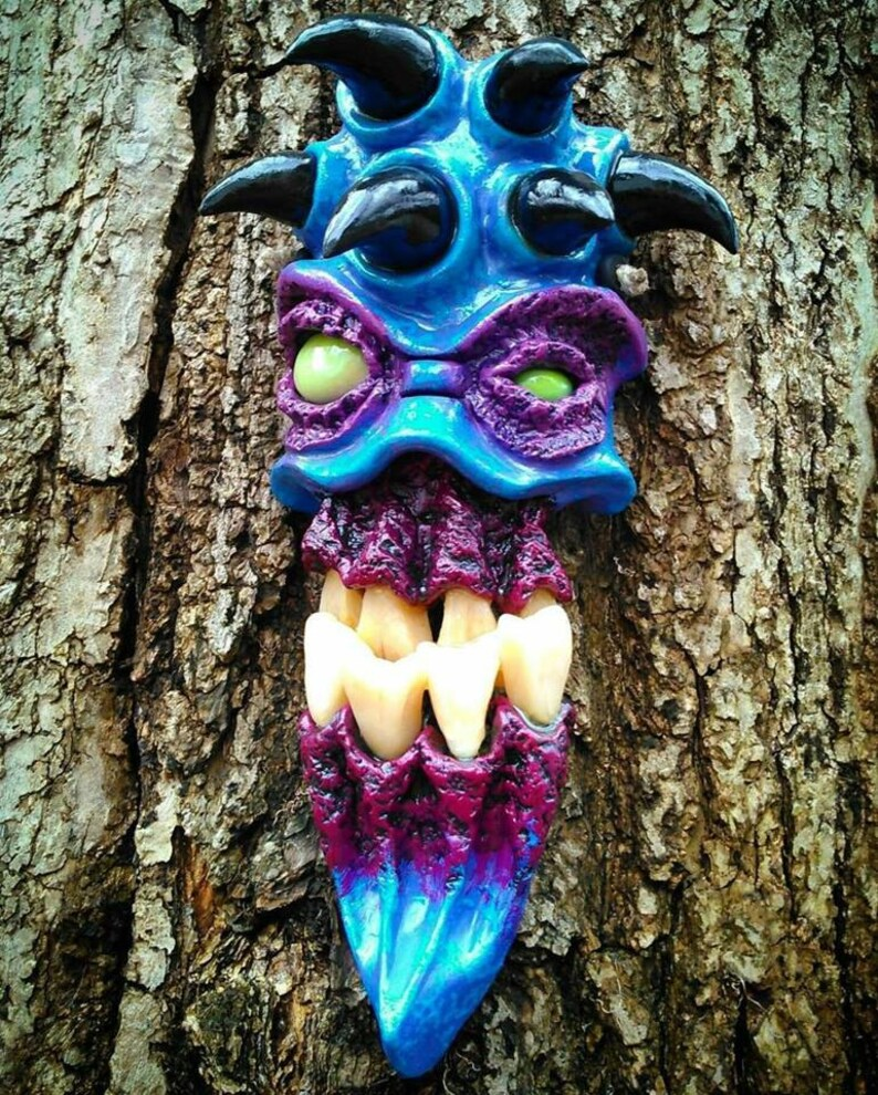 Blue Demon with 6 Horns Wall Mask by Wicked Wall Masks image 0