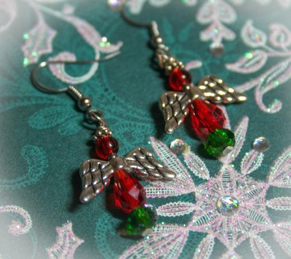 Christmas Angel Earrings - OOAK - Handmade - Christian Jewelry - Angel  Jewelry - Red & Green - Happy Holidays - Merry Christmas - Seasonal
