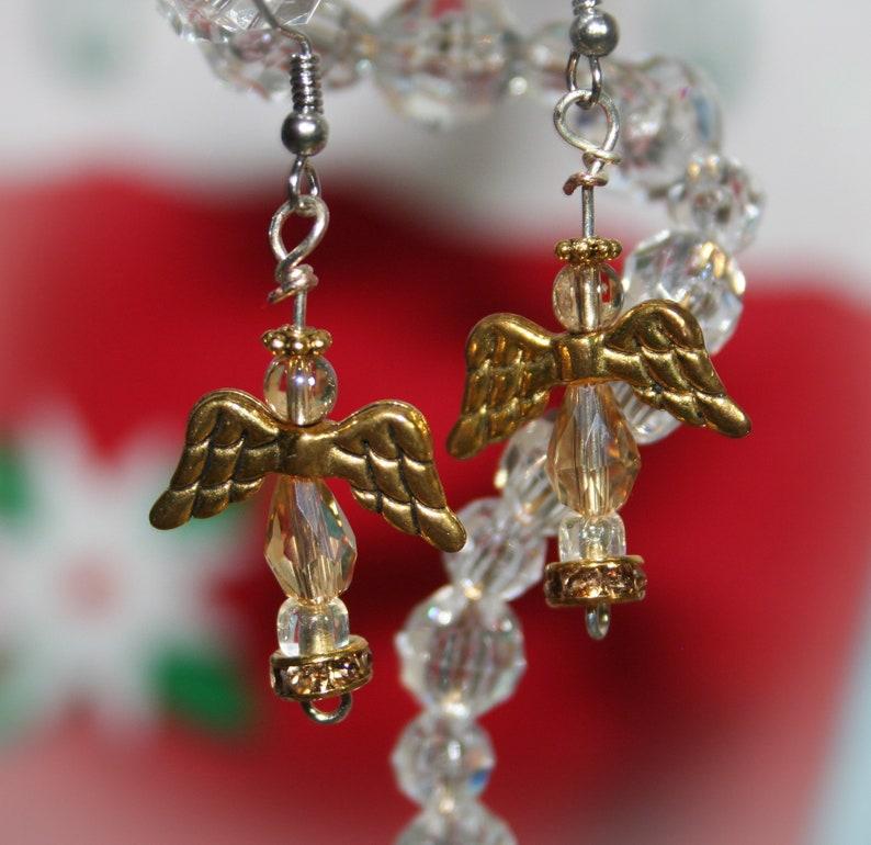 Christmas Angel Earrings - OOAK - Handmade - Christian Jewelry - Angel  Jewelry - Gold Angels - Happy Holidays - Merry Christmas - Seasonal