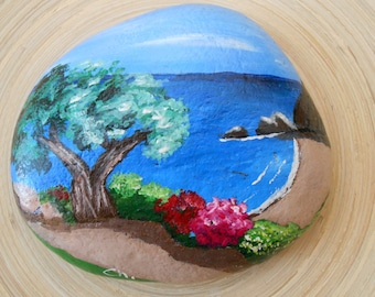 Hand Painted Stones,Home Decor,Painted Rock, Pebble,Acrylic, Greek islands, Summer Garden Decoration