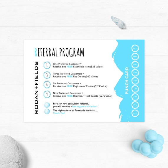 Rodan And Fields Referral Program Rodan Fields Punch Cards Etsy