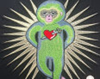 GREEN SPACE MONKEY iron on patch