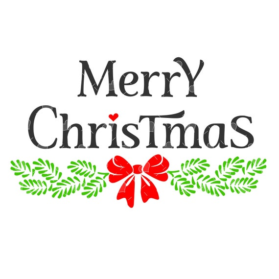 Merry Christmas Bough Word Art Svg