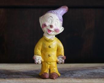 Vintage Figurine Snow White Dopey Figurine Yellow Clothes Purple Hat Seven Dwarfs Dwarf Vintage Broken Hat Disney Figurine