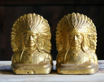 #390 Vintage Brass Native American Bust Charm 8 Pieces