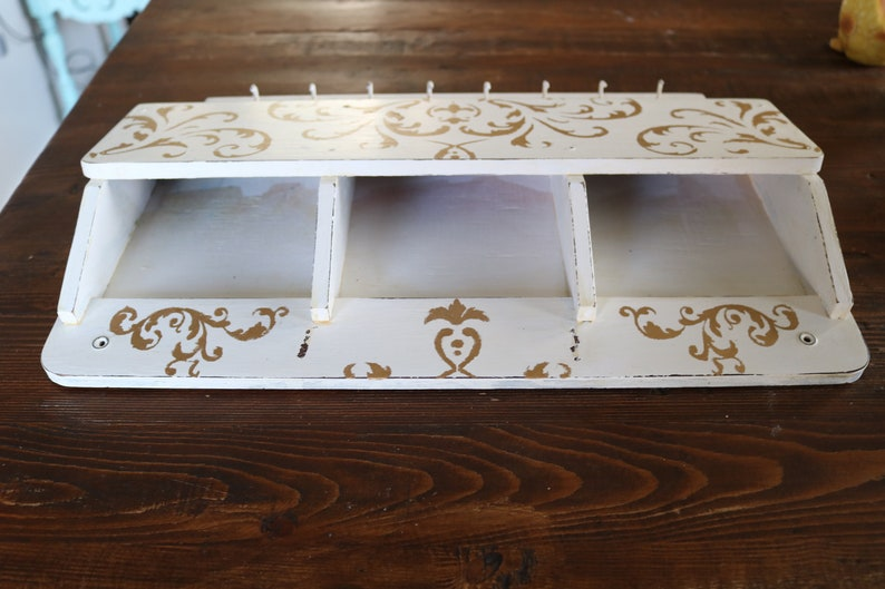 French Farmhouse Decor 3 Slot Wood Letter Organizer with 8 Key Hooks Vintage Wall Mount Mail Holder for Rustic Entryway Decor