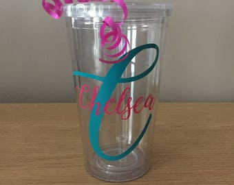 Personalised Name and Intial Plastic Cup / Tumbler - Perfect for a gift/Birthday/Anniversary/Wedding/Baby Shower