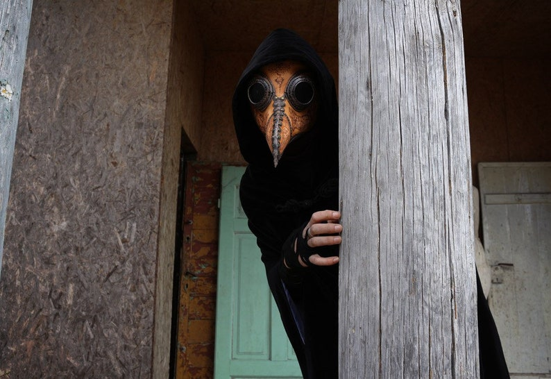 Customized Leather Full Plague Doctor Mask that fits Over Glasses