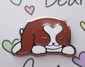 Bella Enamel Pin | Blenheim Cavalier King Charles Spaniel Lapel Pin | Puppy Dog Badge