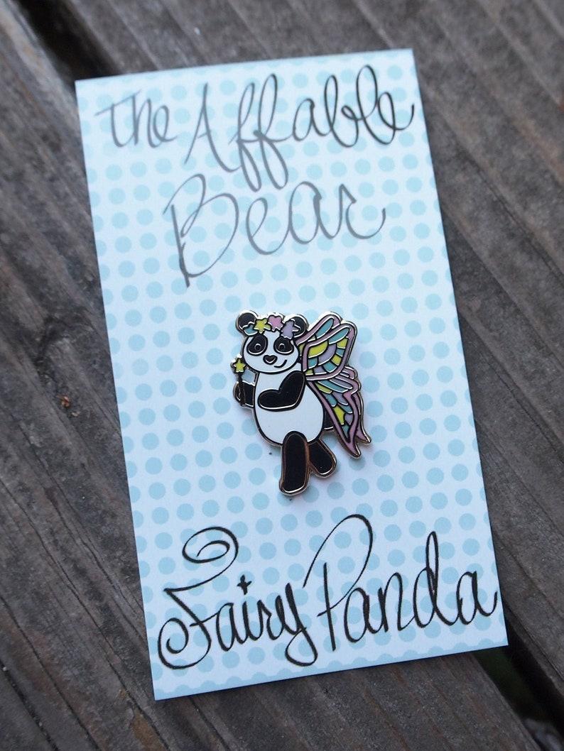 Fairy Panda Enamel Pin  Lapel Pin  Magical Fairy Panda Badge image 0