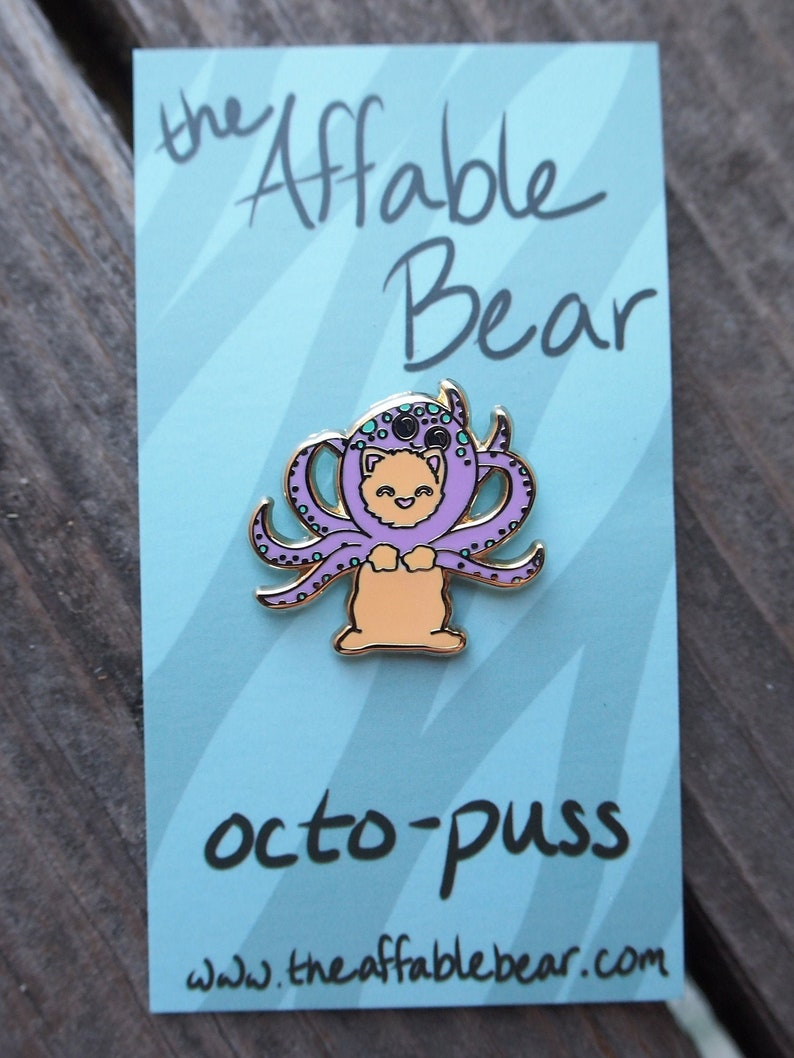 Octo-puss Enamel Pin  Lapel Pin  Octopus Cat Badge image 0