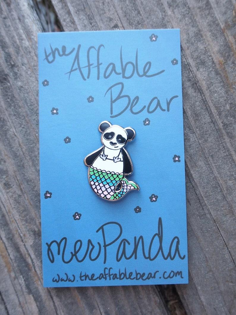 MerPanda Enamel Pin  Lapel Pin  Mermaid Panda Badge image 0