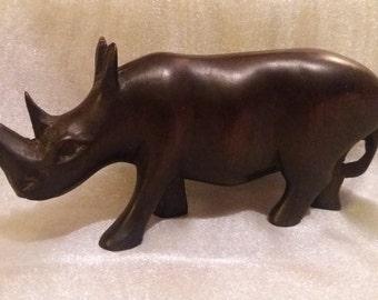 Vintage hand carved hardwood African rhinoceros, rhino, retro