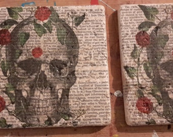 Stone Tile Coasters with images of skulls and roses, dictionary background, Travertine tumbled limestone, each unique, set of four.