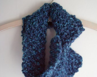 Turquoise and blue variegated knit cowl