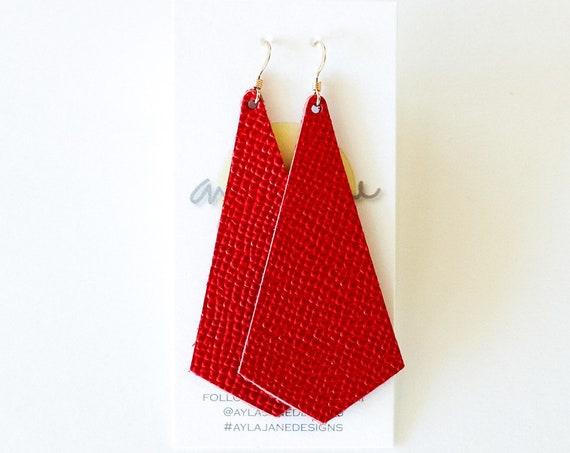 Red leather earrings, modern pendant earrings, Valentine's Day earrings