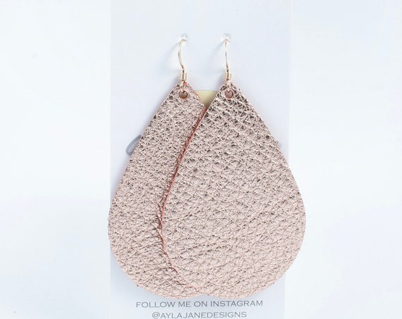 Rose gold leather teardrop earrings, teardrop earrings, statement earrings, rose gold leather, leather teardrop earrings