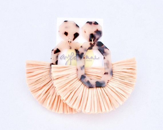 Tortoise Raffia Earrings, Statement Earrings, Tortoise Earrings, Lightweight Earrings