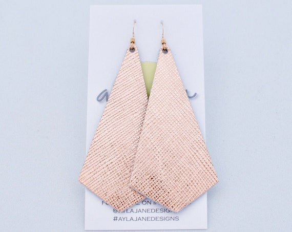 Rose gold leather earrings, modern pendant earrings, rose gold saffiano