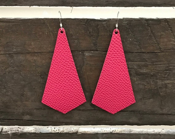 Pink leather earrings, modern pendant earrings, Valentine's Day earrings
