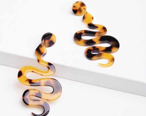 Tortoise earrings, Snake earrings, Acrylic earrings, Snake Acrylic earrings