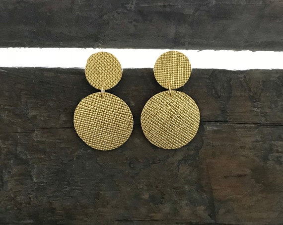 Modern disc earrings, leather earrings, statement earrings, drop earrings