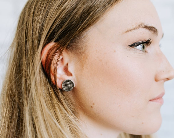 Stud earrings, Large stud earrings, Leather stud earrings, statement earrings