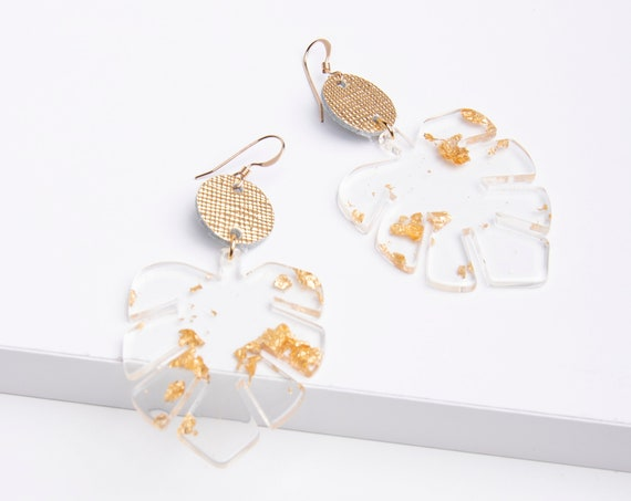 Palm leaf earrings, Palm leaves, statement earrings, Acrylic earrings, Clear Acrylic with gold or silver