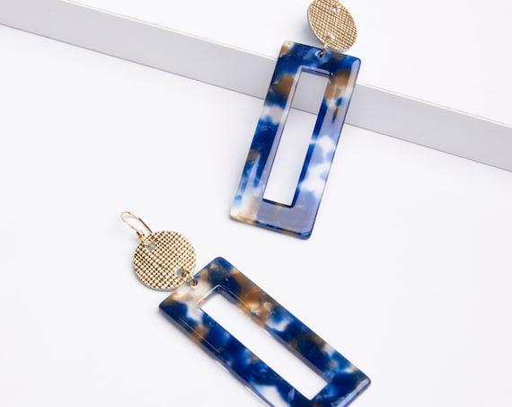 Blue Acrylic Earrings, Blue Resin Earrings, Statement Earrings