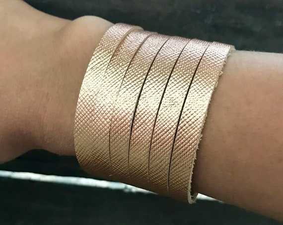 Metallic rose gold cuff bracelet, cuff bracelet, leather cuff, rose gold leather cuff bracelet, saffiano rose gold