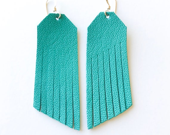 Teal fringe earrings, fringe earrings, statement earrings, drop earrings