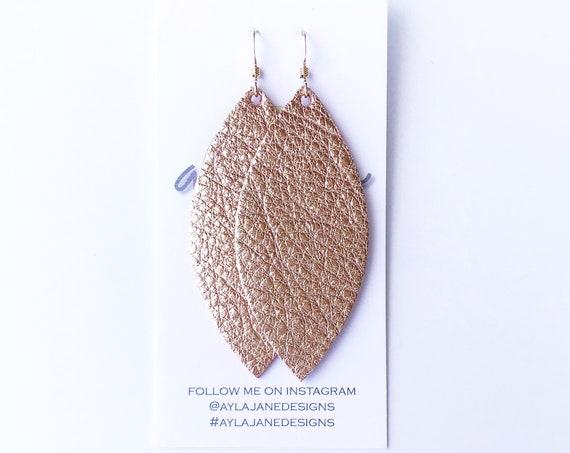 Rose Gold Petal Earrings, Metallic Rose Gold Leather Earrings, Statement Earrings