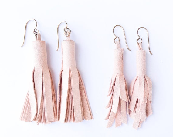 Tassel earrings, leather tassel earrings, blush earrings, pink earrings, drop earrings, statement earrings