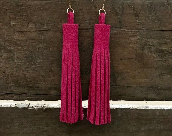 Hot pink tassel earrings, magenta tassel earrings,  leather tassel earrings, drop earrings, statement earrings