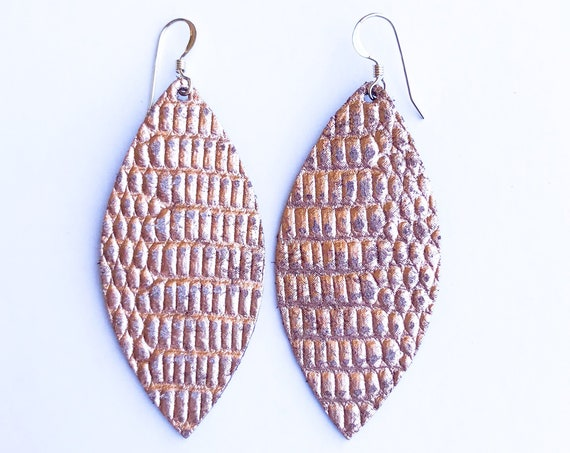 Rose Gold Reptile Petal Earrings, Statement Earrings, Petal Earrings, Rose gold