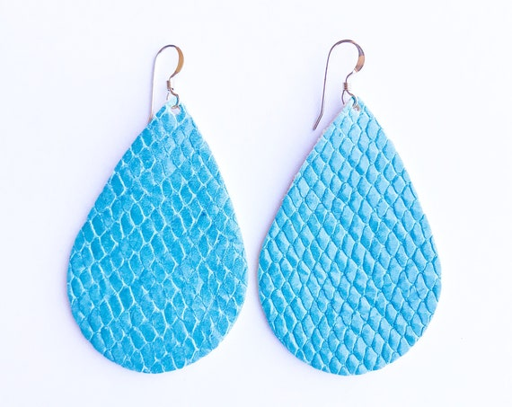 Blue Island Reptile Teardrop Earrings, Teardrop earrings, statement earrings