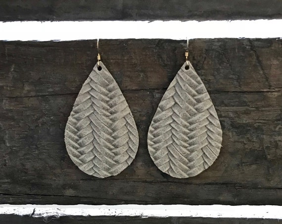 Leather Teardrop Earrings, Gray Earrings, Statement Earrings, Drop Earrings