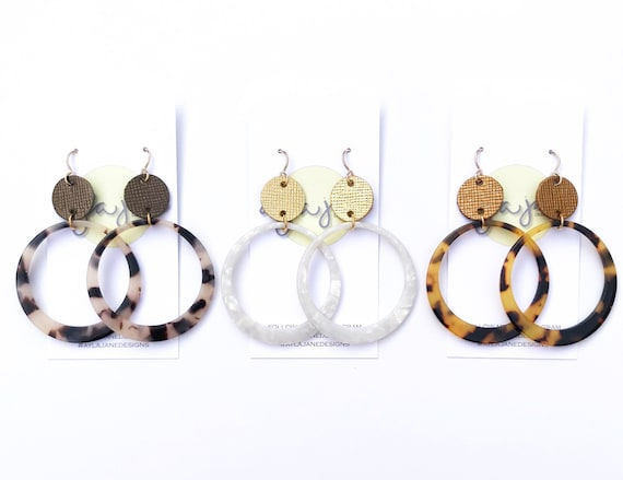 Resin Hoop Earrings, Acrylic Earrings, Statement Earrings, Hoop Earrings