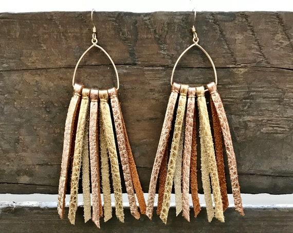 Gold & rose gold tassel earrings, leather tassel earrings, drop earrings, statement earrings