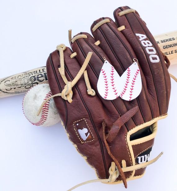 Baseball earrings, stitched baseball earrings, teardrop earrings, teardrop earrings, leather earrings, statement earrings